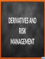 BACKGROUND ON DERIVATIVES