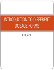 2 - KFT 221(INTRODUCTION TO DIFFERENT DOSAGE FORMS)