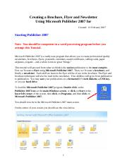 Publisher 2007 tutorial