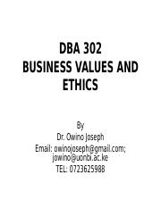 DBA 302_Business Values and Ethics