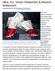 Nike, Inc. Vision Statement & Mission Statement - Panmore Institute.pdf