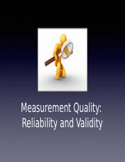 Lecture 07- Measurement Quality