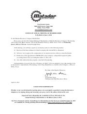 Matador Resources Company 2014 Proxy Statement