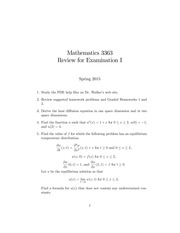 Exam 1 Review on Introduction to Partial Differential Equations Spring 2015