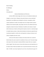 American Industrialization and Democracy Essay