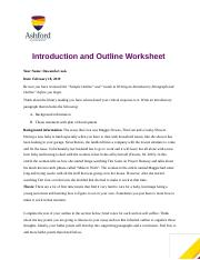 2 Pages Dawanda Cook Ashford University Eng121 Critical Essay Outline Template Docx