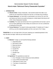 Sample Demonstration Speech Outline Cherry Cheesecakes