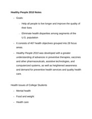 Healthy People 2010 Notes