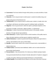 Key Terms for American Government