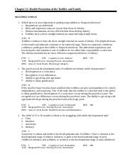 Chapter 12 Health Promotion of the Toddler and Family peds exam 2