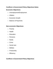 Conflicts in Government Policy Objectives Notes