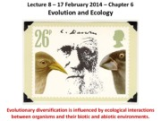 Lecture 8 Evolution and Ecology 2-17-14