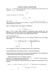 Lecture 4 Notes, Central Limit