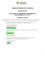COMM 455 Assignment 4 due March 30 2015Questions  solutions