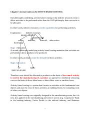 Chapter 5 Lecture notes on ACTIVITY BASED COSTING 15th