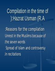 isl. lecture#9 compilation in the time of Hazrat Usman (r.a.)