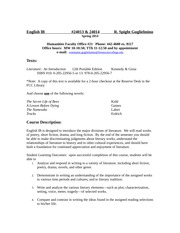 English 1B syllabus Spring 2014
