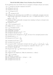 Fall 2002 Infinite Series Problems answers