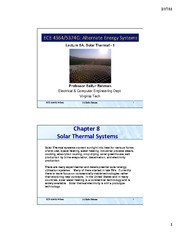 Lecture 6A - Solar Thermal - Part 1