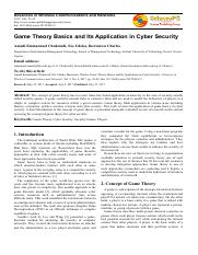 Game Theory Basics and Its Application in Cyber Security.pdf