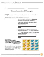 DNA Analysis done.rtf - Name Date Student Exploration DNA ...
