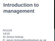 01 Introduction to course and background to management