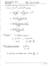 Math 121 Critical Numbers Quiz