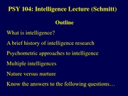 Intelligence Lecture