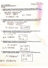 pre calc growth decay worksheet