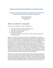 Energy conservation and transitions to alternative energy