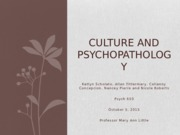 Culture and Psychopathology Presentation