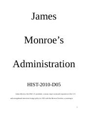 James Monroe's Administration Reasearch Paper-A.S..docx