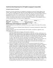 Nonfiction Book Reporting Form AP English Language In cold blood