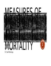 PHC 6000 - Week 3 - Measures of Morbidity and Mortality
