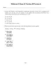 Midterm I Chem 1C Section 20 Version A