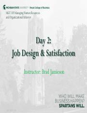 2. Job Design & Satisfaction - Lecture