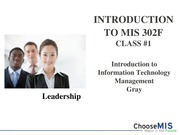 Class 01 - Introduction MIS 302F (1)