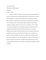 essay on brave new world co essay