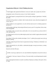 Organizational Behavior Critical Thinking Questions.docx