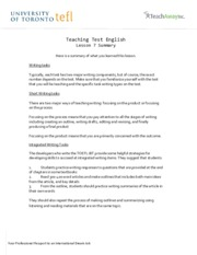 Teaching Test English - Lesson 7 Summary