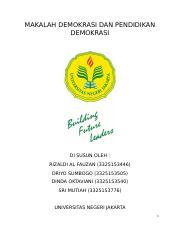 329292335 Makalah Demokrasi Dan Pendidikan Demokrasi Docx Docx Makalah Demokrasi Dan Pendidikan Demokrasi Di Susun Oleh Rizaldi Al Fauzan 3325153446 Course Hero