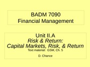 BADM 7090 IIA 2011 - Risk & Return (Cap Mkts, Risk, & Return)
