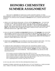 HONORS-CHEMISTRY-SUMMER-ASSIGNMENT14-15