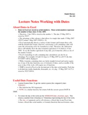Data Base (Dates Formula) Lecture Notes