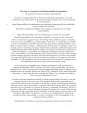 The Role of Corporate Social Responsibility in Reputation notes and paper