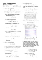 Exam 1 Version B Spring 2013 on Differential Equations