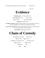 Unit 9 Assignment 2 Document a Clear Chain of Custody