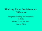 Thinking about Feminisms Spring 2014
