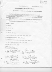 Math 1A - Spring 2001 - Ratner - Practice Final