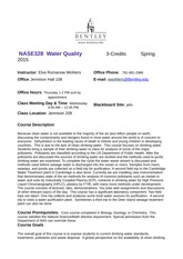 2015 SP Extended Syllabus and Schedule NASE 328 Water Quality Elva Wohlers v1